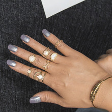 7pc/set Charm Gold Color Midi Finger Ring Set for Women Vintage Boho Knuckle Party Rings Punk Jewelry Gift for Girl 4 pcs set boho ring set 2019 fashion jewelry hollow compass rhinestone shell wedding ring set punk gold knuckle rings party gift
