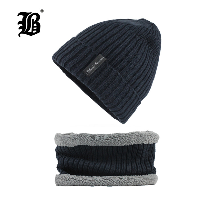 [FLB] Winter   Beanies   Men Scarf Knitted Hat Caps Mask Gorras Bonnet Warm Baggy Winter Hats For Men Women   Skullies     Beanies   F18006