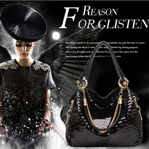 Image 5 - bags for women 2020 Fashion women bag Leather Sequins Women Handbags Shiny Ladies Handbag Chain Shoulder Bags Brand Designer