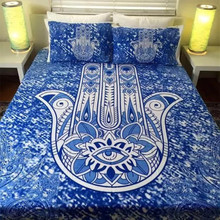Индии богемной печати Набор пододеяльников для пуховых одеял комплект с наволочкой 3 шт. постельного белья продажи синий хамса полный Queen King bedline
