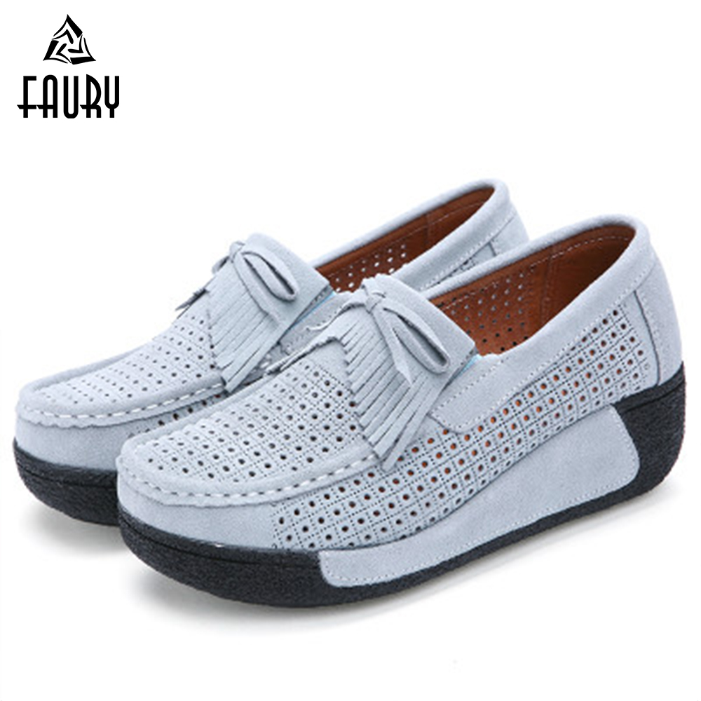 Summer Nurse Shoes Medical Pharmacy Super Soft Leather Wedge Female Hollow Work Hole Surgical Breathable Scrub Cosmetologist