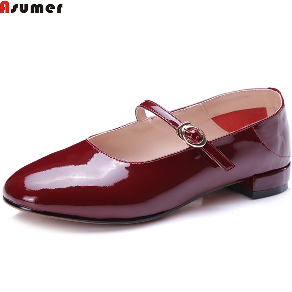 Asumer black wine red pink square heel women pumps buckle round toe cow patent leather shoes shallow leisure low heels shoes цена