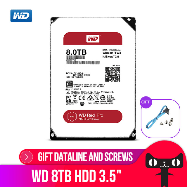 WD RED Pro 8TB Disk Network Storage 3.5  NAS Hard Disk Red Disk 8TB 7200RPM 256M Cache SATA3 HDD 6Gb/s WD8003FFBX