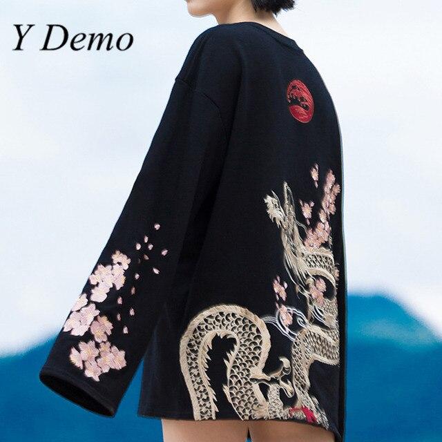Sakura Embroidery Pullovers for Women O Neck Width Long Sleeve Sweatshirt Fashion Street Style Loose Clothings