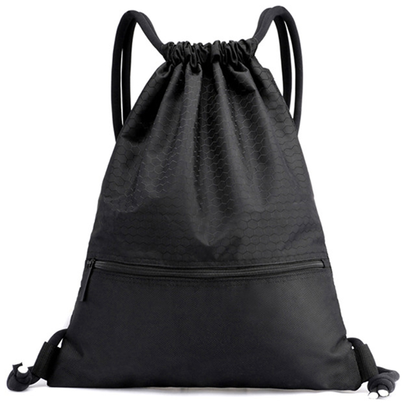 Outdoor Women Men Nylon Black Ultralight Backpack Football Basketball Bag String Drawstring Hunting Hiking Gym Sport Bags