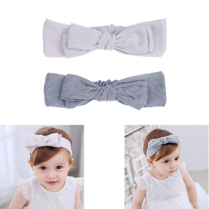 Infant Girls Double Layer Stripe Bowknot Baby Hair Clasp Headbands Cute Cotton   Headwears   Baby Girls Clothing Accessory