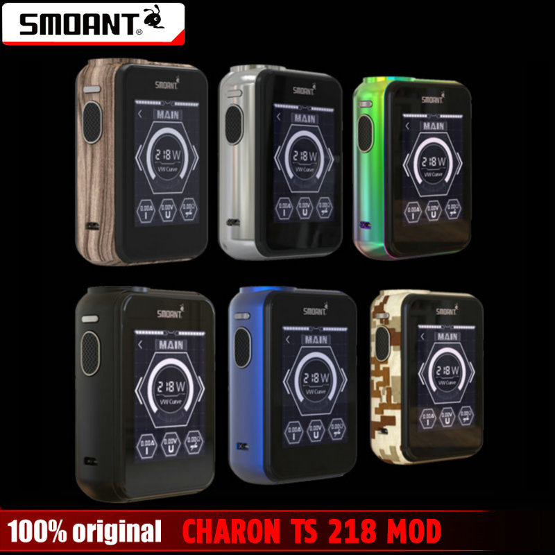 Original Smoant CHARON TS 218 Box Mod With 2.4 inch Touch Screen Power By 18650 Battery (Not include) Charon 218w TC Mod e cig ruru15070 to 218