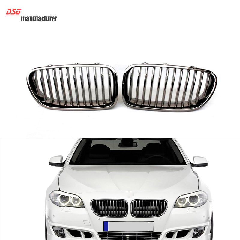 5 Series F10 Grill Kidney Single Slat Front Bumper Grille for BMW 2010 - IN Sedan Chrome Silvery-Black Racing Grille Air Mesh e70 black abs kidney racing grille for bmw 2007 2013 x5 series e70