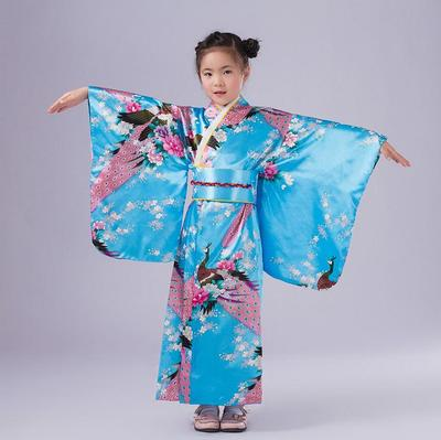 2018 New Child Novelty Cosplay Floaral Dress Japanese Baby Girl Kimono Dress Children Vintage Yukata Kid Girl Dance Costumes