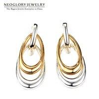 Neoglory Fashion Water Drop Women Earrings Allergy Free Sensitive Ears Jewelry Door Knocker Post Silver Gold