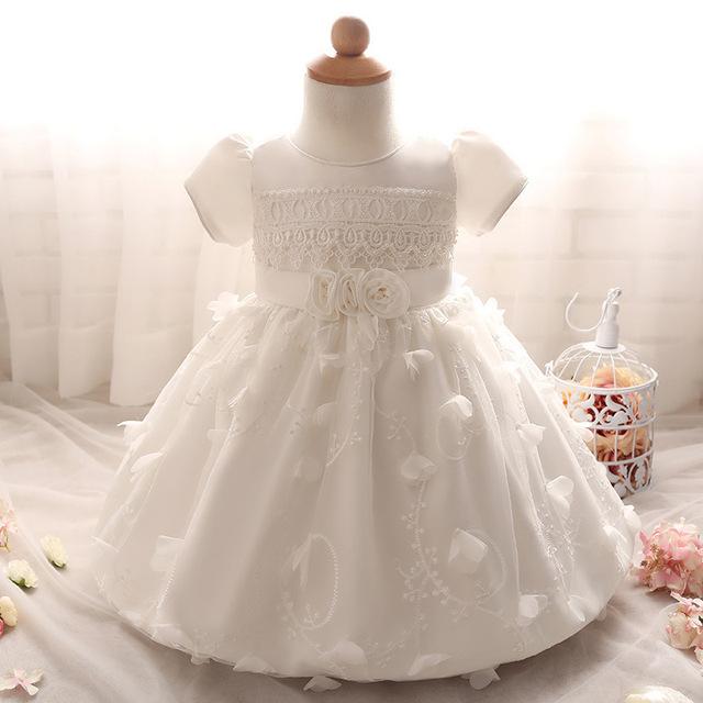 Moda de manga corta con cuentas blancas vestidos de bautizo vestidos de primera comunión para niñas