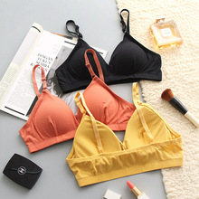 SP&CITY France Simple Colored Active Seamless Bra Soft Breathable Sexy Wire Free Solid Triangle Cup Brassiere Lingerie