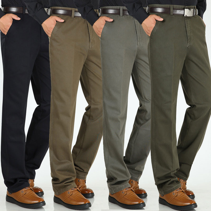 Winter Thick Men's Casual Pants High Waist Loose Straight Pants Middle-aged Men's Cotton Wild Non-iron Casual Trousers