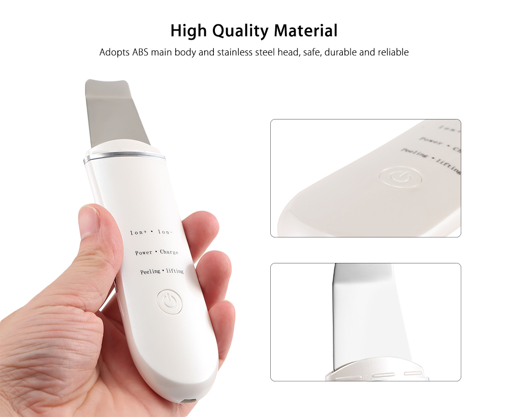 Portable Home Use Skin Care Device Ultrasonic Ion Cleansing Instrument Dirt & Oil Removal USB Skin Cleaner Stainless Steel Tool