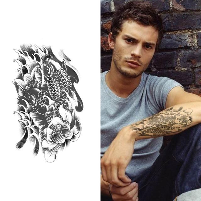 Temporary Tattoo Sleeve Sticker For Men Women Black Koi With Lotus