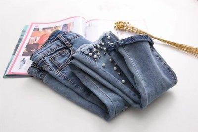 Women Fashion Destroyed Ripped Blue Jeans pearled Slim Denim Pants Boyfriend Jeans 2017 New Woman Trousers 3