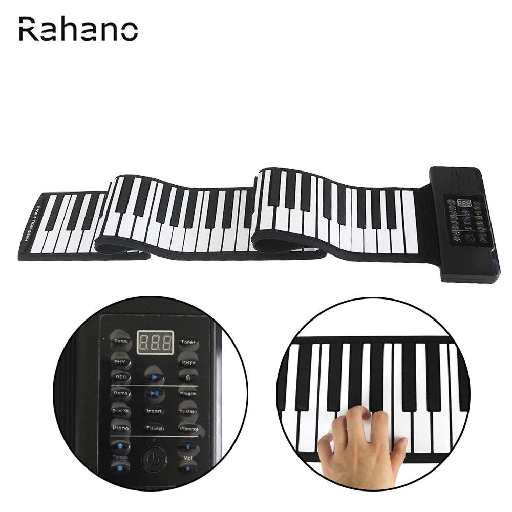 Rahano Noir + Blanc De Silicium 88 Touches MIDI 128 Tons Orgue Électronique Roll Up Pliant Piano Haut-Parleur Intégré pour Enfants