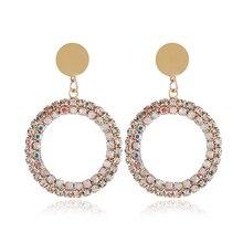 WNGMNGL Korean Fashion Drop Earrings Bohemia luxurious Crystal Hollow Round Dangle Earrings For Women Jewelry Gift Drop Shipping цена и фото