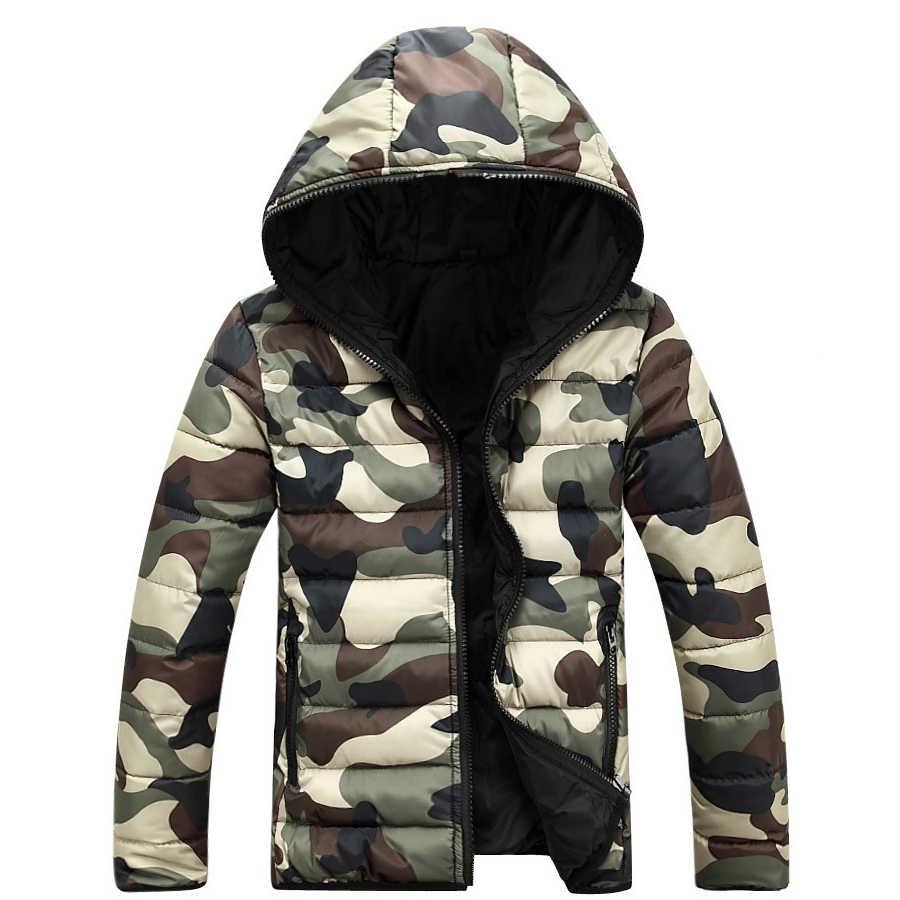 2019 새로운 위장 겨울 다운 재킷 코트 남성 douune Homme Hiver Marque 후드 남성 자켓 두꺼운 패션 코트