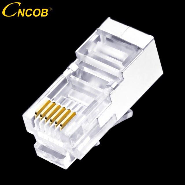 50 шт., длинный корпус RJ11 RJ12 6P6C, телефонный соединитель FTP, 6 ядер, кристальная головка для телефона, модульная вилка, щит, медный корпус