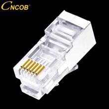 50 pcs RJ11 RJ12 6P6C lange lichaam, telefoonlijn connector FTP 6 kern telefoon kristal hoofd, modulaire plug shield koper shell