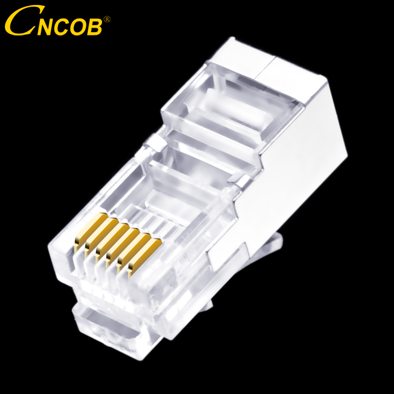 50 pcs RJ11 RJ12 6P6C long corps, ligne téléphonique connecteur FTP 6 core cristal de téléphone tête, modulaire plug bouclier de cuivre shell