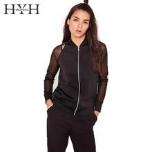 HYH HAOYIHUI Fashion Women Coats Black Solid Jackets Regular Autumn Zippers Long Sleeve Sheer O-Neck Sports Leisure Casual