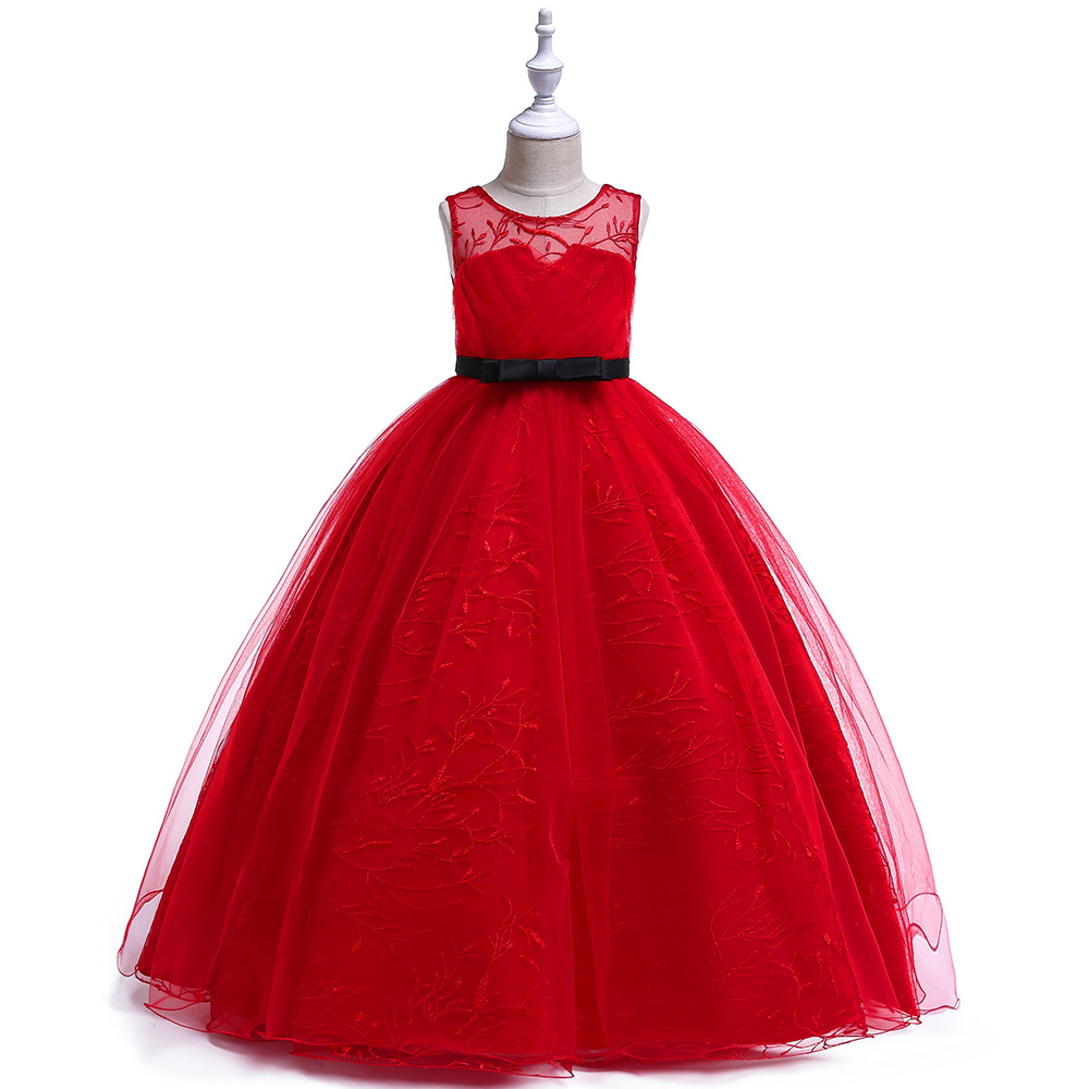 Well Design A-Line Tulle Red   Flower     Girls     Dresses   Long Wedding Party Formal Gown For Little   Girl   First Communion   Dress   with Sash