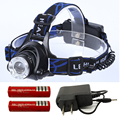 Cree XML T6 rechargeable 5000 Lumen headlamp zoomable led Headlight with charger +2 x 18650 battery cycling camping