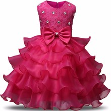Baby Girl Red Christmas Dress Children Bridesmaid Dress Tulle Puffy Kids Party Dresses For Girl 2 3 4 5 6 7 8 Year Birthday Gift