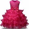 Vestido de Los Niños del bebé de Navidad Roja de dama de Honor Vestido de Tulle Puffy vestido de Fiesta de Los Niños vestidos Para Niña De 2 3 4 5 6 7 8 Año de Cumpleaños regalo