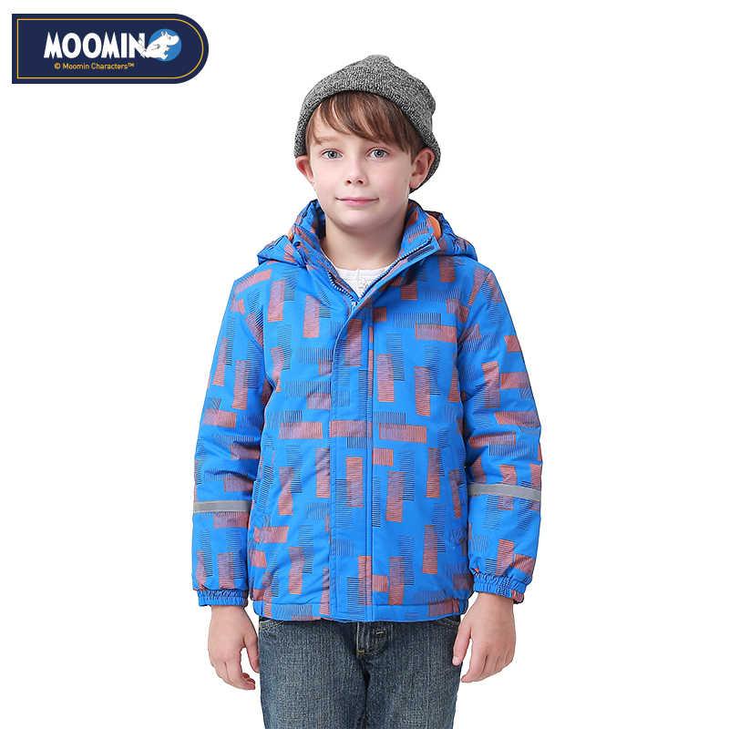 Moomin 2018 방수 아동 겨울 자켓 따뜻한 파란색 snowsuit 지퍼 후드 액티브 보이즈 자켓 겨울 옥스포드 코튼 필링