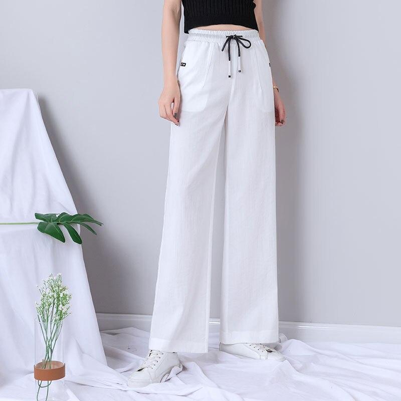 White High Waist   Wide     Leg     Pants   Women Plus Size Summer Thin Lace Up Streetwear Harajuku Palazzo   Pants   Women Sweatpants Joggers