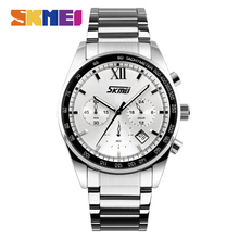 SKMEI Relogio Masculino 9096 Top Brand Men Quartz Watch Luxury Stainless Steel Strap Business Watches Male Wristwatch Clock mens watches top luxury brand sports watch skmei countdown stainless steel strap quartz wristwatch men clock relogio masculino