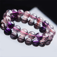 Just One 11mm Natural Purple Hair Needle Rutilated Quartz Super 7 Seven Round Beads Melody Stone Crystal Stretch Charm Bracelets