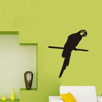 Parrot Stand On The Branch Wall Decals Living Room Vinyl Art Sticker Home Decor Bird Wall Paper