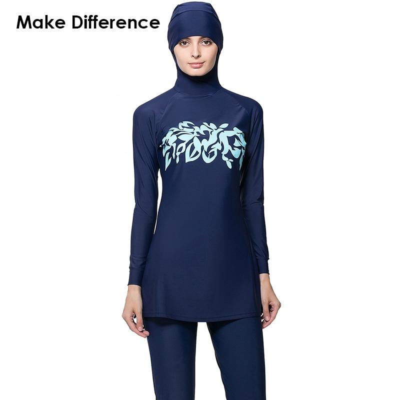 Make Difference Print Islamic Swim Wear Modest Muslim Swimwear 2 Pieces Connected Hijab Muslim Swimsuit Burkinis for Women Girls make difference leopard print islamic swimsuit arab swimwear 2 pieces connected hijab muslim swimsuit burkinis for women girls