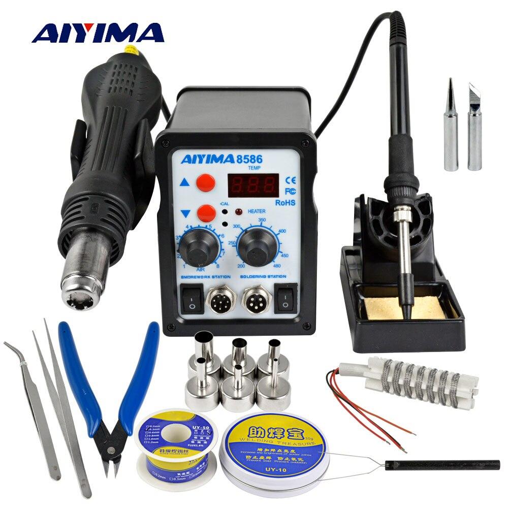 Aiyima 220 v 700 watt 2 In 1 SMD 8586 Löten Station Hot Air Gun Rework Solder Eisen Für Schweißen reparatur Tool Kit Solder Eisen