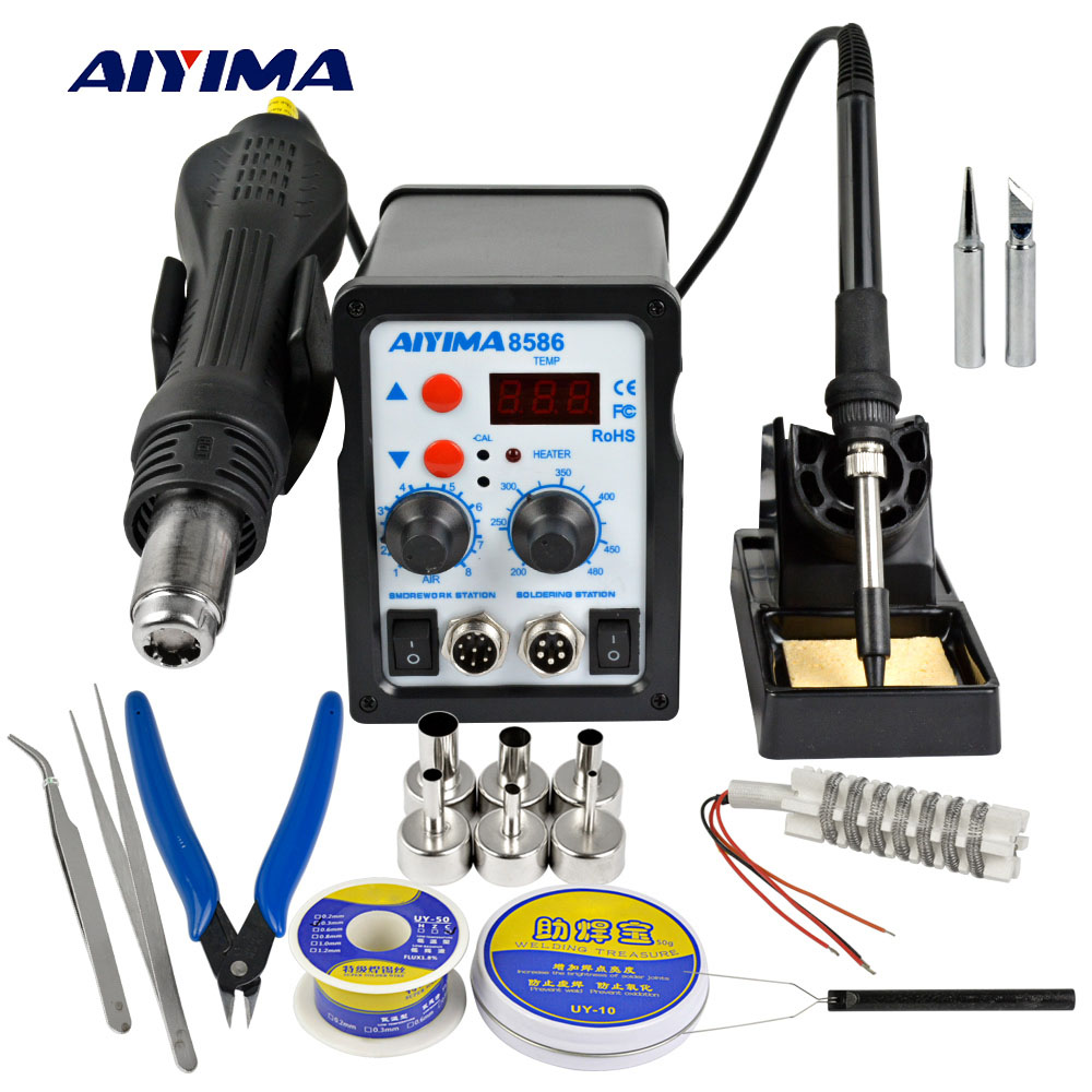 Aiyima 220V 700W 2 In 1 SMD 8586 Soldering Station Hot Air Gun Rework Solder Iron For Welding Repair Tool Kit Solder Iron 8586 2 in 1 esd soldering station smd rework soldering station hot air gun set kit welding repair tools solder iron eu 220v 110v
