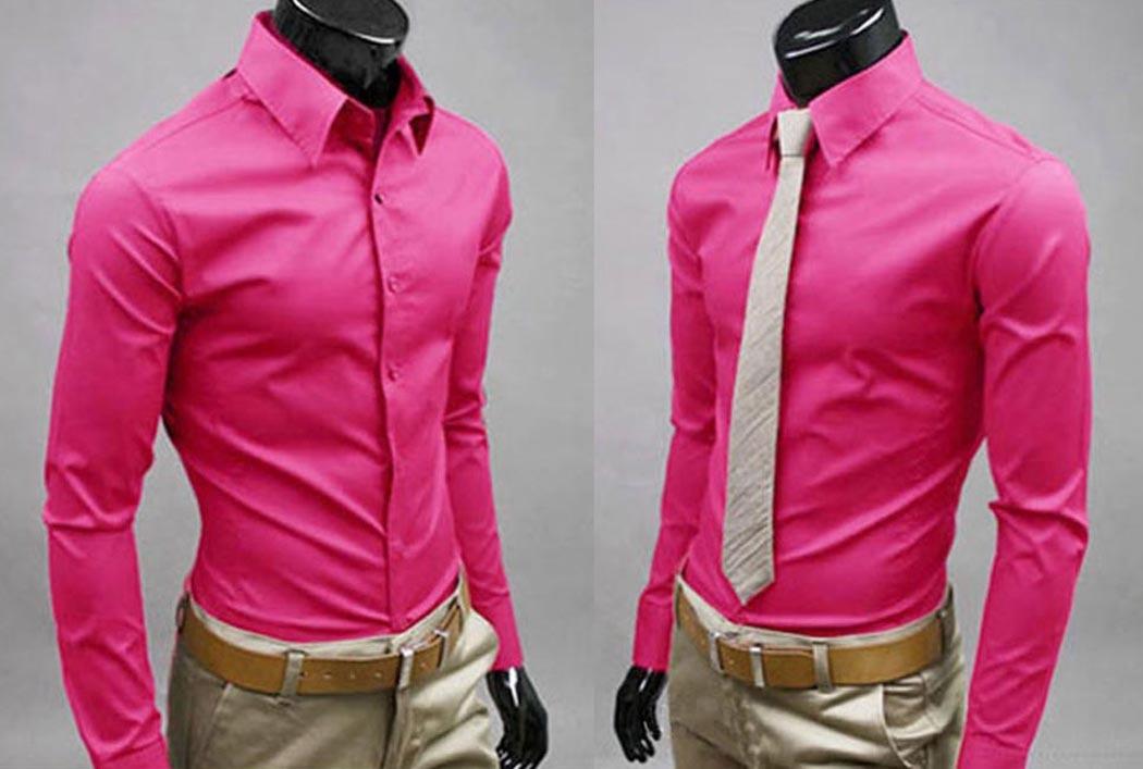 2017 Mens Shirt Bussiness Shirt Formal Pink Slim Fit Long Sleeve ...