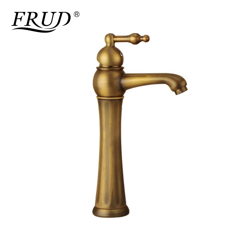 FRUD Brass Basin Faucet Retro Bathroom Basin Sink Taps Deck Mounted Single Holder Swivel Spout Mixer