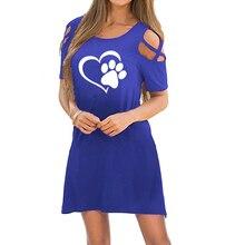 Open Shoulder Paw Print Dress