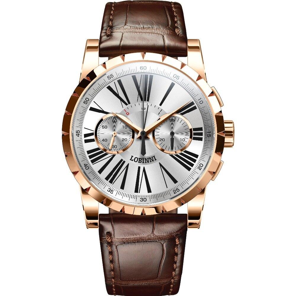 LOBINNI Mens 50M Waterproof Genuine Leather Strap Choregraph Dial Automatic Manual Wind Mechanical Wrist Watch