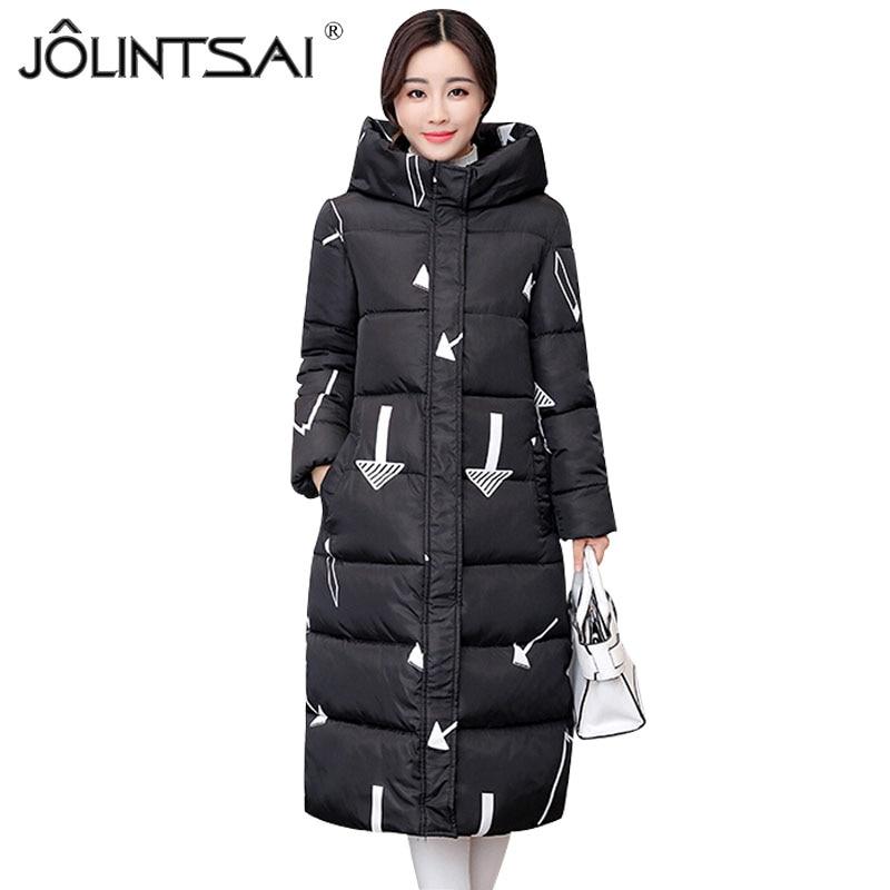 JOLINTSAI New Long Padded Coats Women Parkas Female Winter Coat Thicken Winter Jacket Women Outwear Hooded Jackets 7 Color цены онлайн