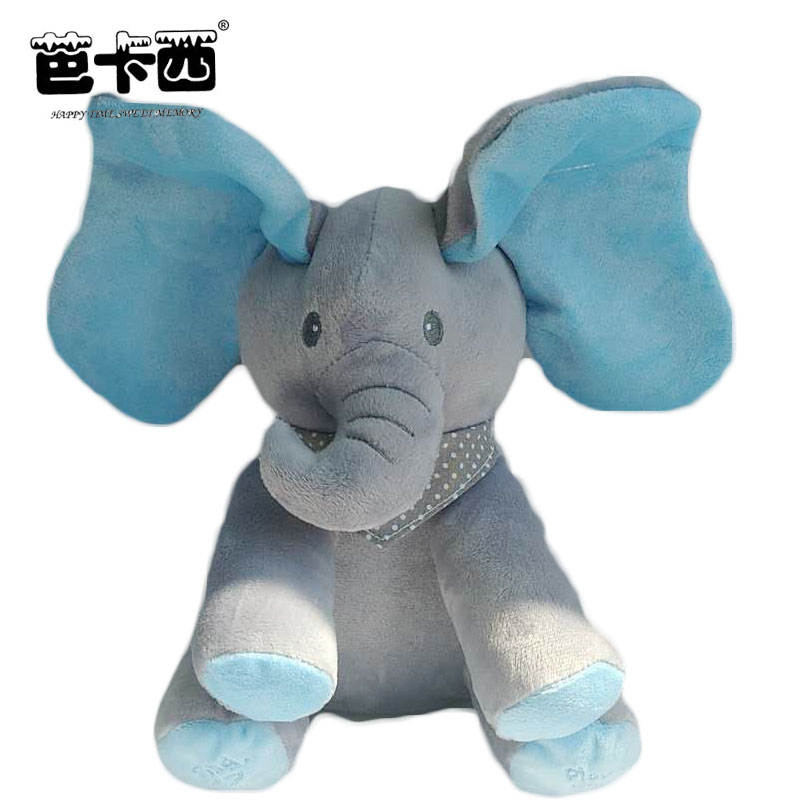 Peek A Boo Elephant Plush Toy Blue Ears Electronic Elephant Toy Play Hide And Seek Baby Kids Soft Doll Birthday Gift For Child seek thermal