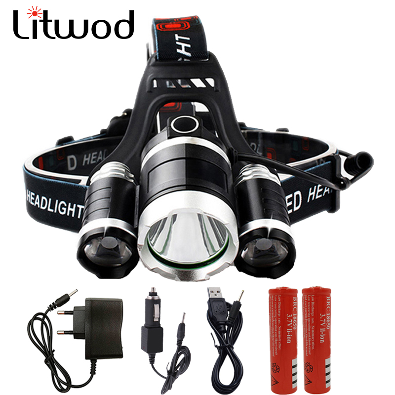 Litwod z35 LED Headlamp 3* XM-L T6 15000LM Head Lamp 4 Model Headlight portable light head flashlight for hunting 18650 Battery super 15000lm usb 9 cree led led headlamp headlight head flashlight torch cree xm l t6 head lamp rechargeable for 18650 battery