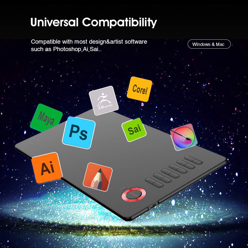 VEIKK tablette de dessin A15 tablette graphique 10x6 pouces tapis de dessin numérique pour artistes 8192 niveaux de pression avec un gant gratuitement - 6