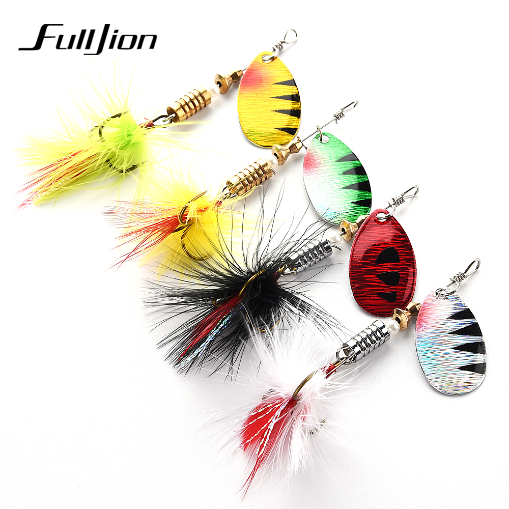 Fulljion Fishing Lures Wobbers Spinner Shone Sequin Spoon Baits CrankBait For Fly Fishing Tackle With Feather Hooks Pesca Isca  Рыбная ловля