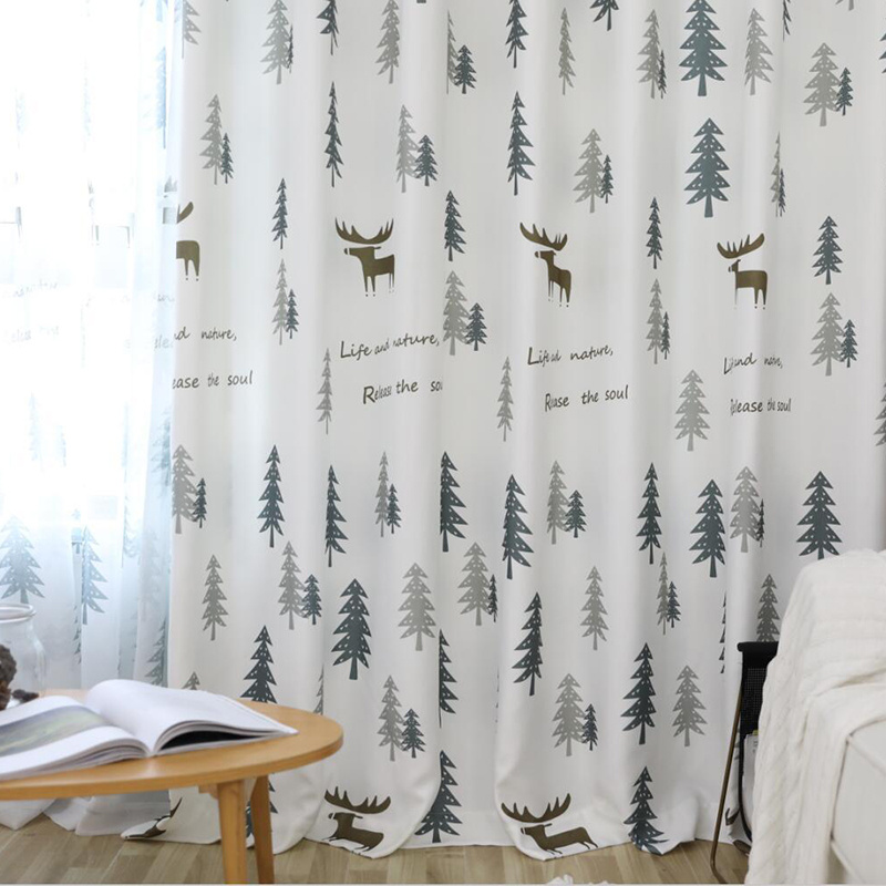 US $2.69 35% OFF|Hot Sale Printed Cafe Curtains Simple Pine Forest For  Living Room Cute Deer For Children\'s Bedroom Window Treatments-in Curtains  from ...