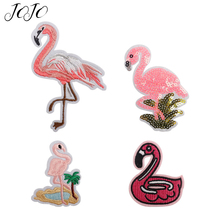 JOJO BOWS 5pcs Cloth Sequin Patches For Clothing Flamingo Pattern Accessory Apparel Sewing Patchwork DIY Craft Supplies Decor